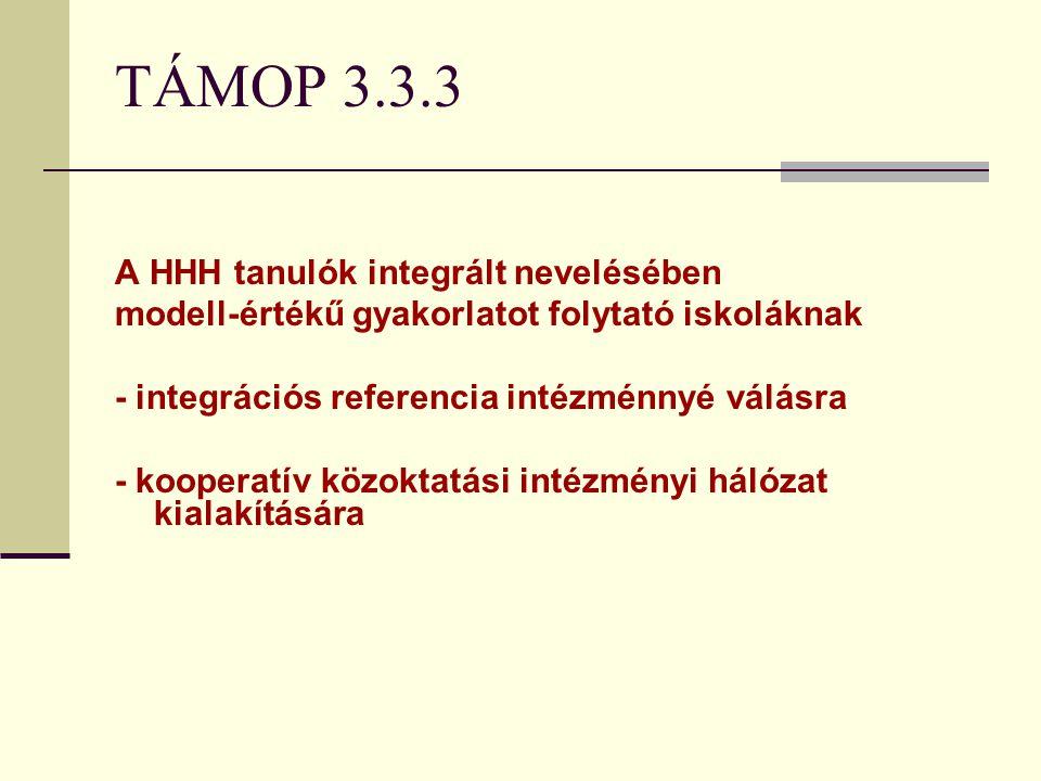TÁMOP 3.3.3 A HHH tanulók integrált nevelésében