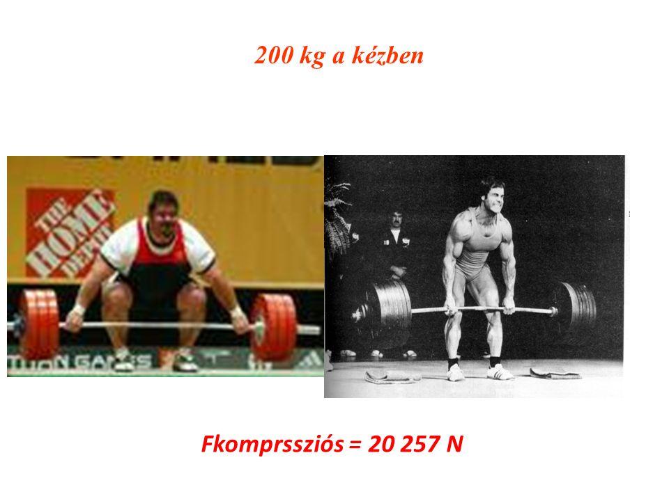 200 kg a kézben Fkomprssziós = 20 257 N