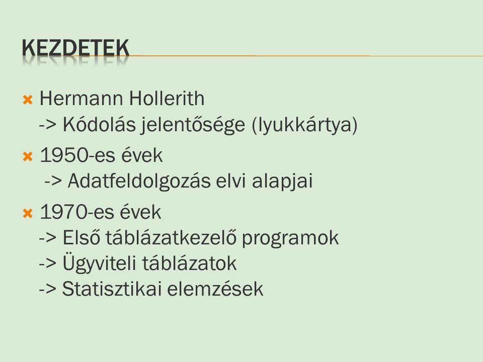 Kezdetek Hermann Hollerith -> Kódolás jelentősége (lyukkártya)