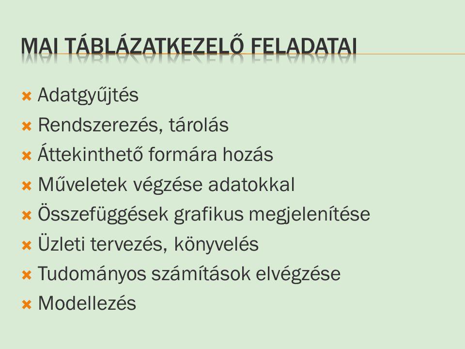 Mai Táblázatkezelő feladatai
