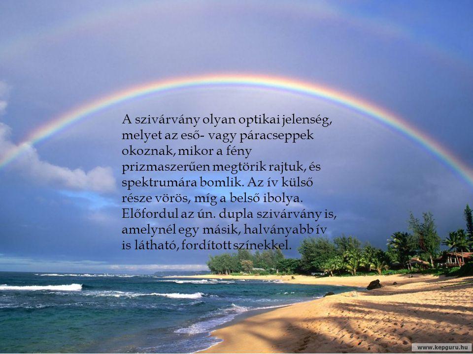 A szivárvány olyan optikai jelenség, melyet az eső- vagy páracseppek okoznak, mikor a fény prizmaszerűen megtörik rajtuk, és spektrumára bomlik.
