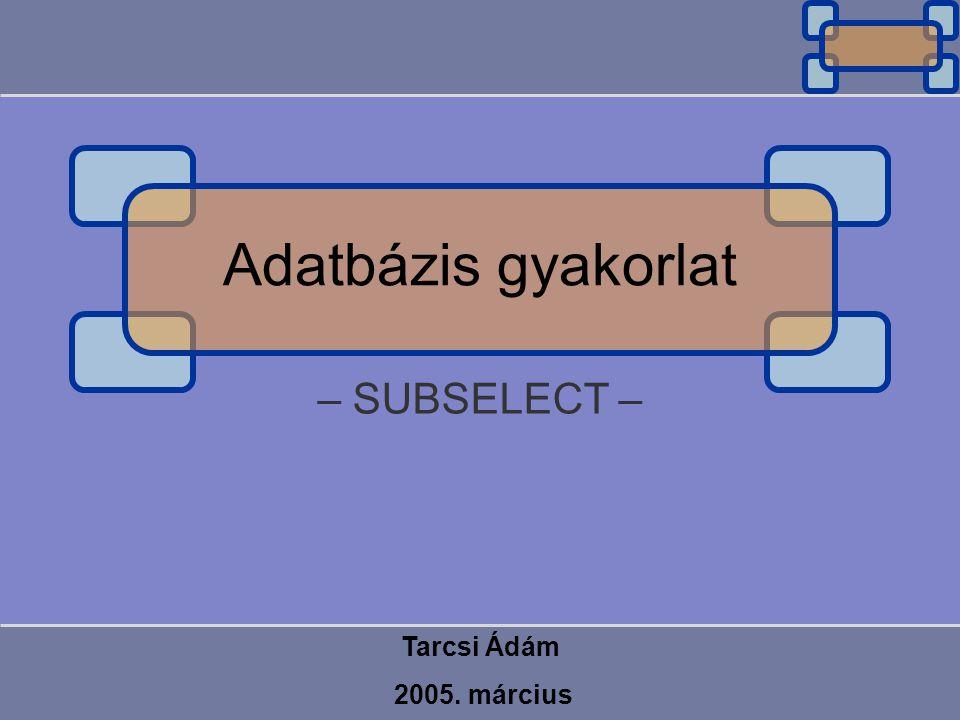Adatbázis gyakorlat – SUBSELECT – Tarcsi Ádám 2005. március