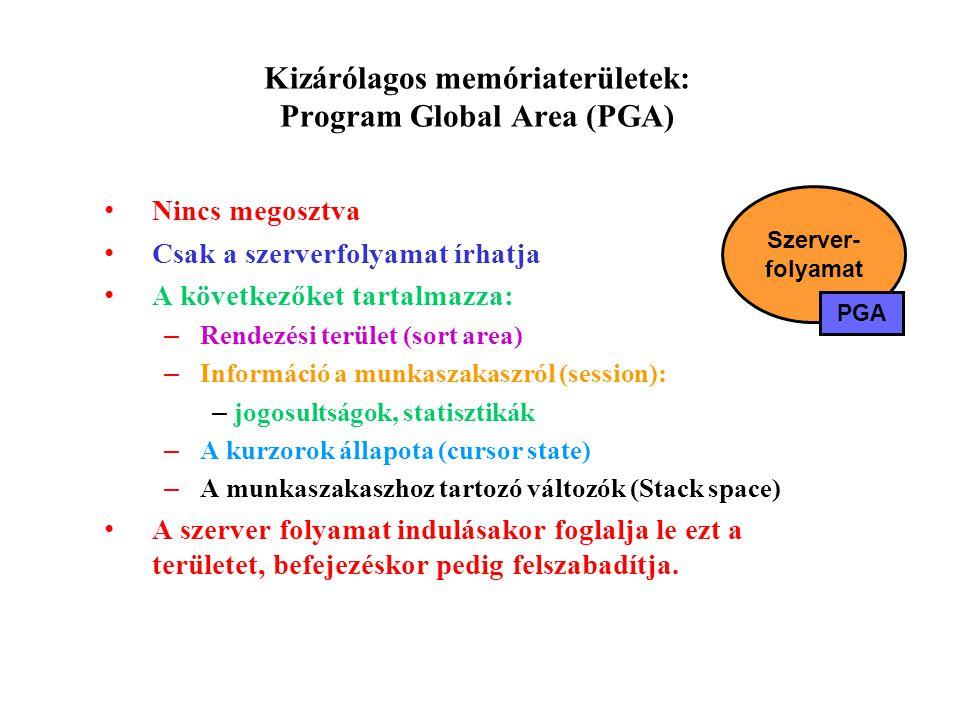 Kizárólagos memóriaterületek: Program Global Area (PGA)