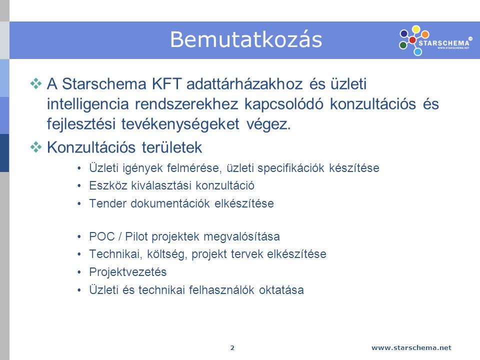 Bemutatkozás A Starschema KFT adattárházakhoz és üzleti intelligencia rendszerekhez kapcsolódó konzultációs és fejlesztési tevékenységeket végez.
