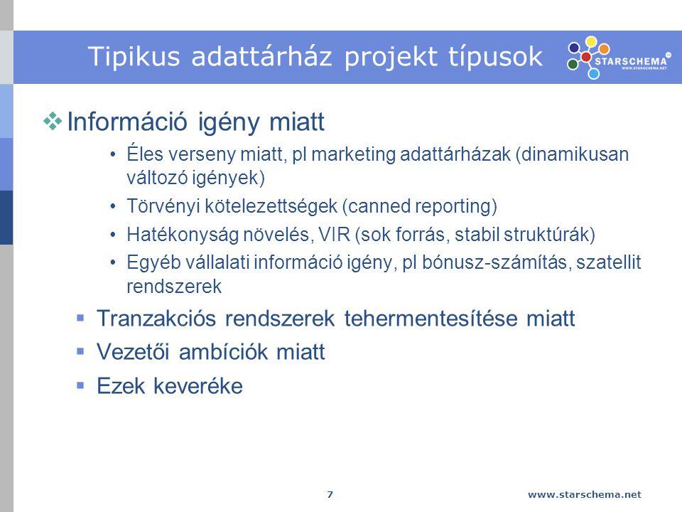 Tipikus adattárház projekt típusok