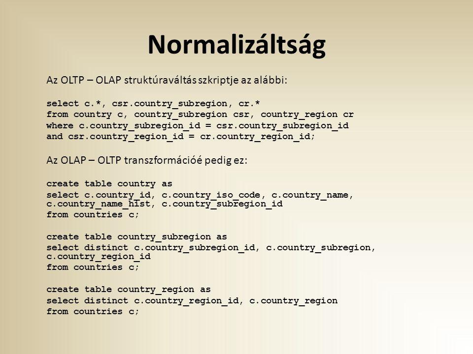 Normalizáltság Az OLTP – OLAP struktúraváltás szkriptje az alábbi: