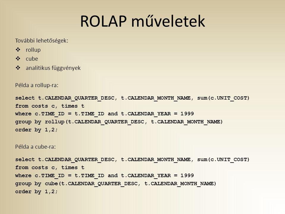 ROLAP műveletek További lehetőségek: rollup cube analitikus függvények