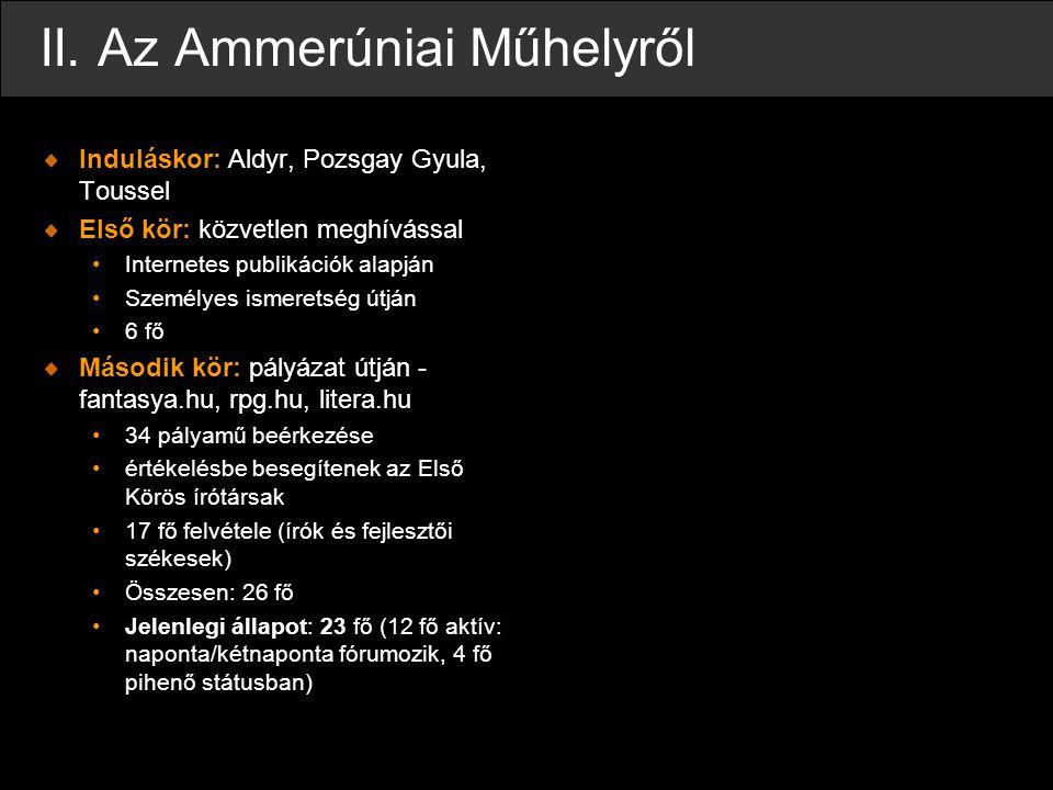 II. Az Ammerúniai Műhelyről