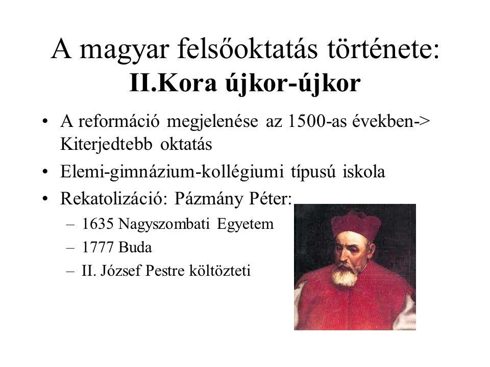 A magyar felsőoktatás története: II.Kora újkor-újkor