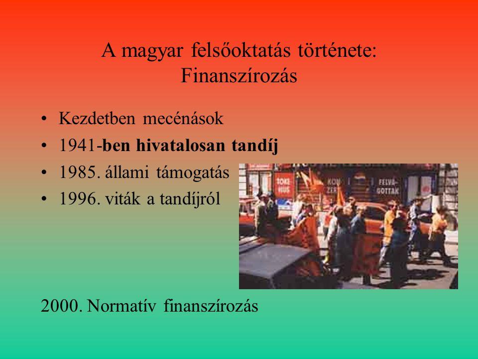 A magyar felsőoktatás története: Finanszírozás
