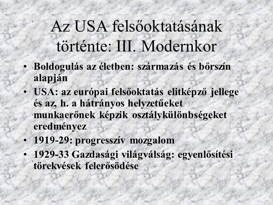 Az USA felsőoktatásának történte: III. Modernkor