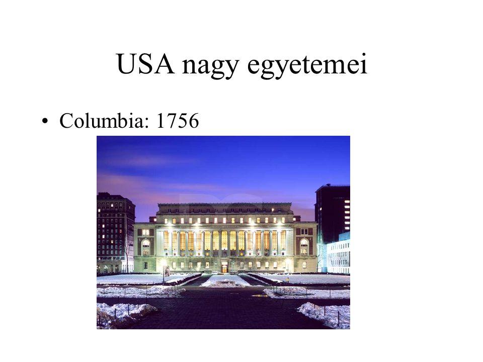 USA nagy egyetemei Columbia: 1756