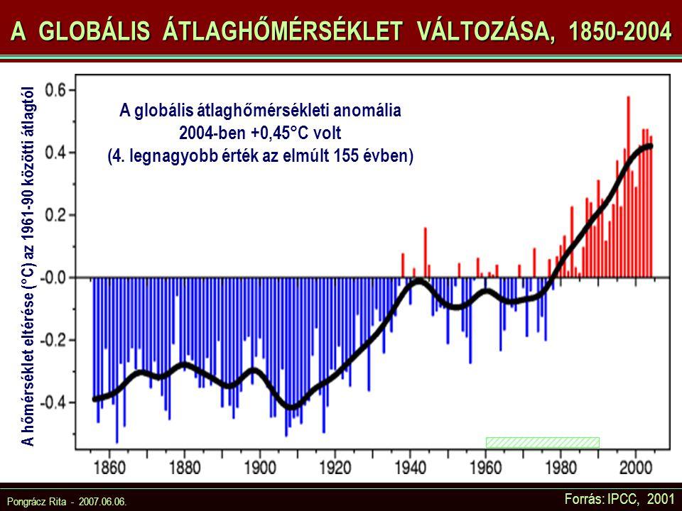 A GLOBÁLIS ÁTLAGHŐMÉRSÉKLET VÁLTOZÁSA, 1850-2004