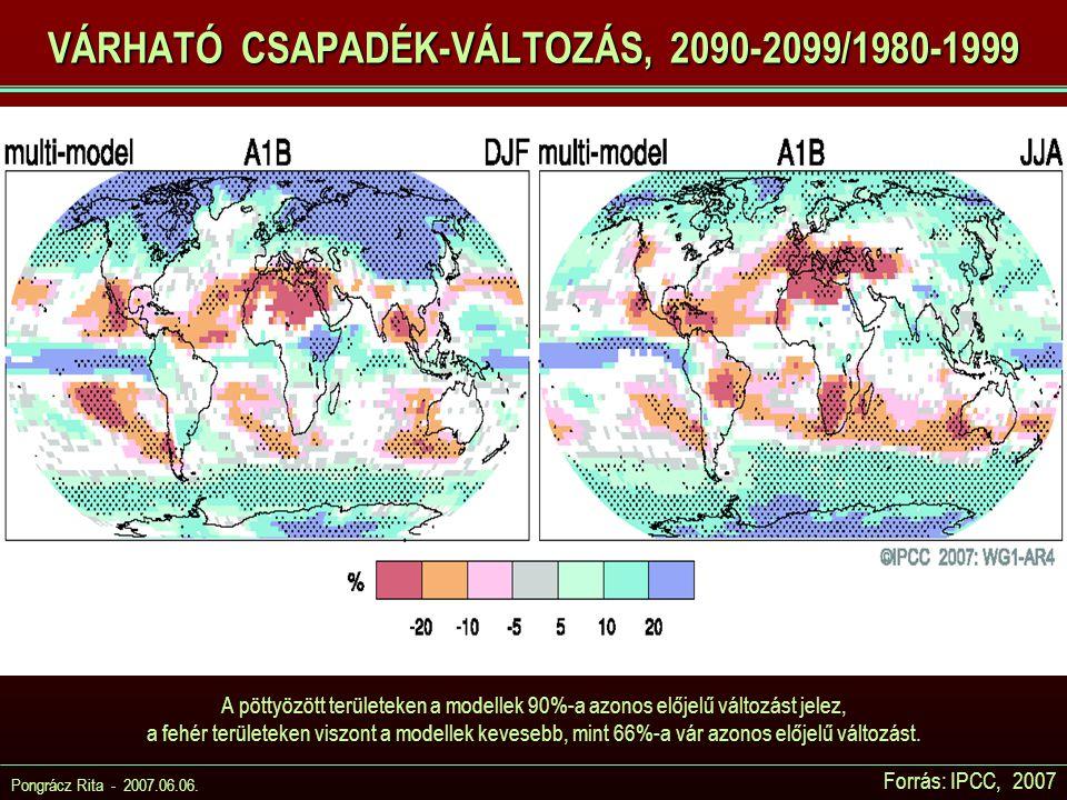 VÁRHATÓ CSAPADÉK-VÁLTOZÁS, 2090-2099/1980-1999