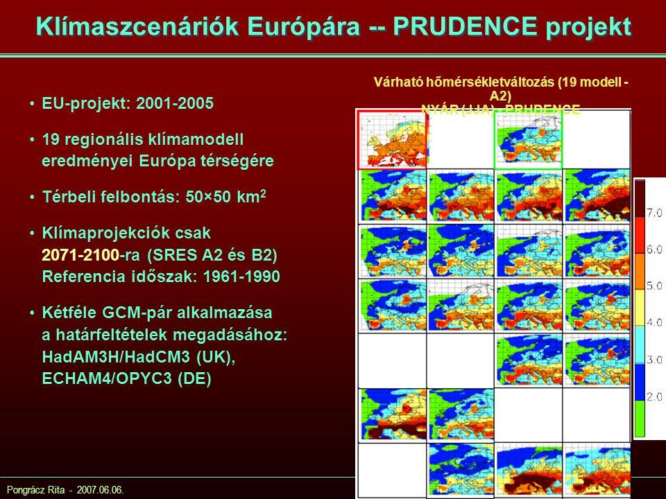 Klímaszcenáriók Európára -- PRUDENCE projekt