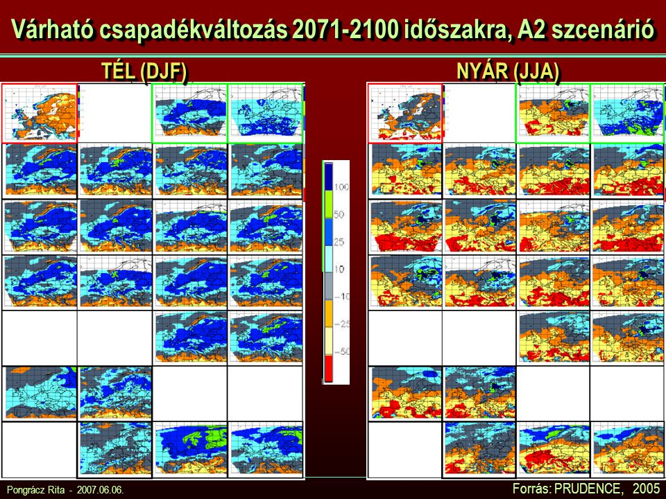 Várható csapadékváltozás 2071-2100 időszakra, A2 szcenárió