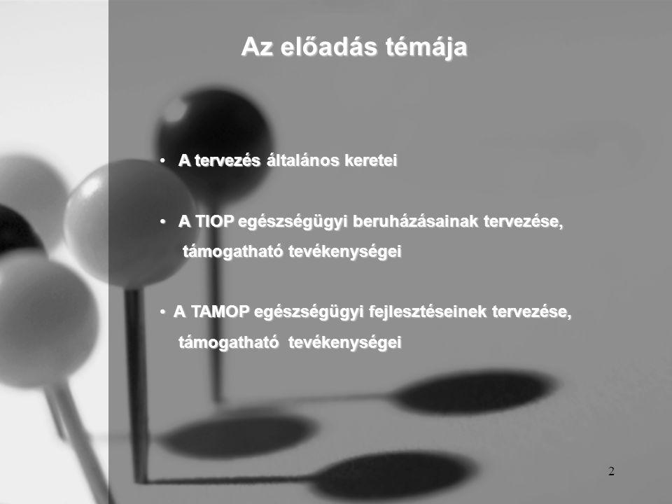 Az előadás témája A tervezés általános keretei