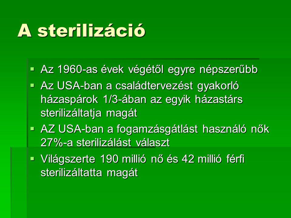 A sterilizáció Az 1960-as évek végétől egyre népszerűbb