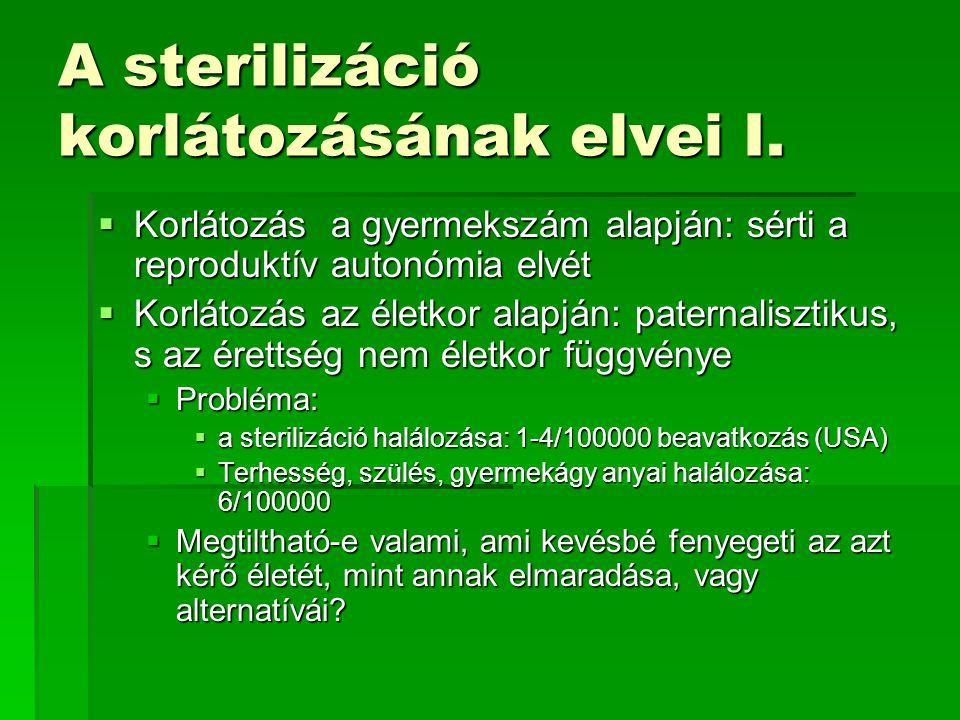 A sterilizáció korlátozásának elvei I.