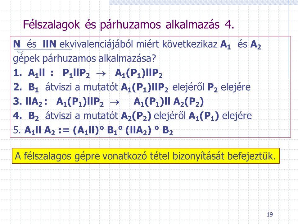 Félszalagok és párhuzamos alkalmazás 4.