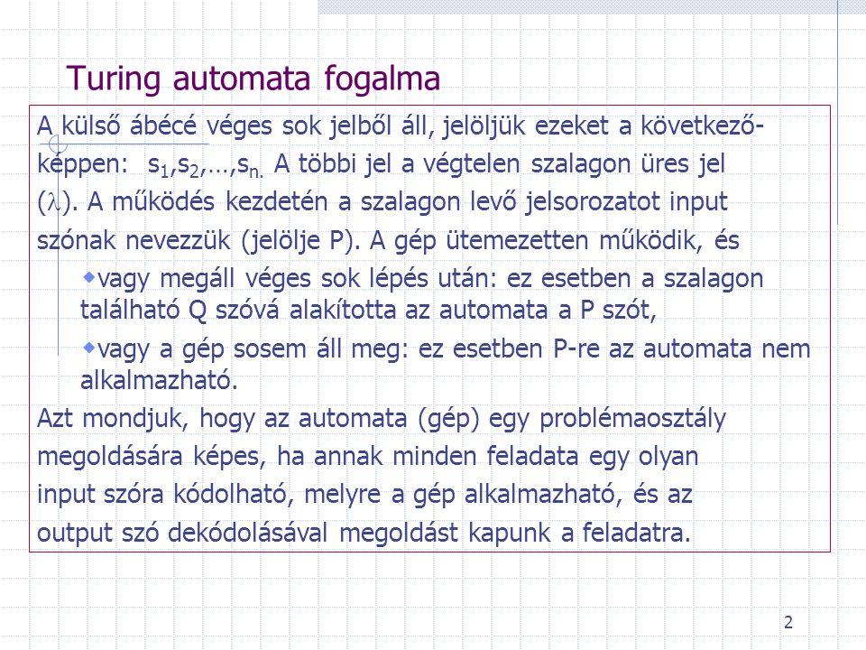 Turing automata fogalma