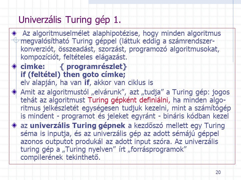 Univerzális Turing gép 1.