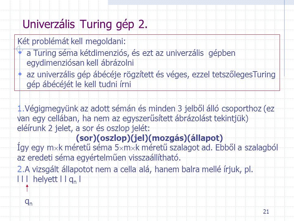 Univerzális Turing gép 2.