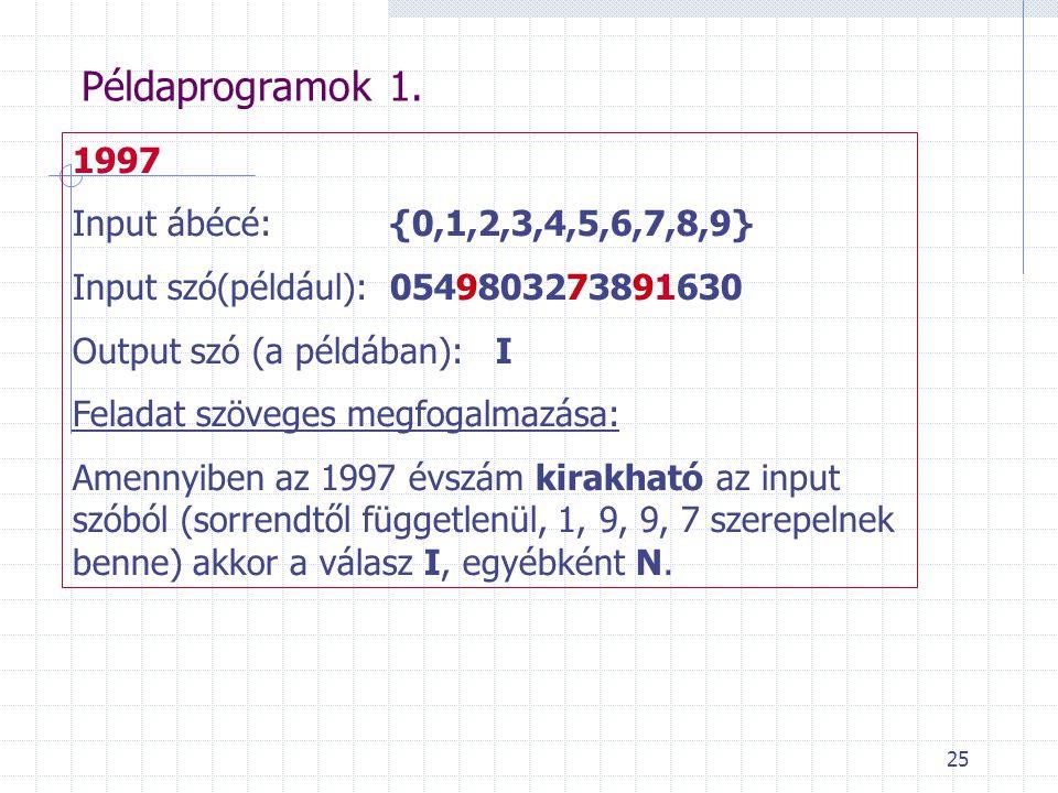 Példaprogramok 1. 1997 Input ábécé: {0,1,2,3,4,5,6,7,8,9}