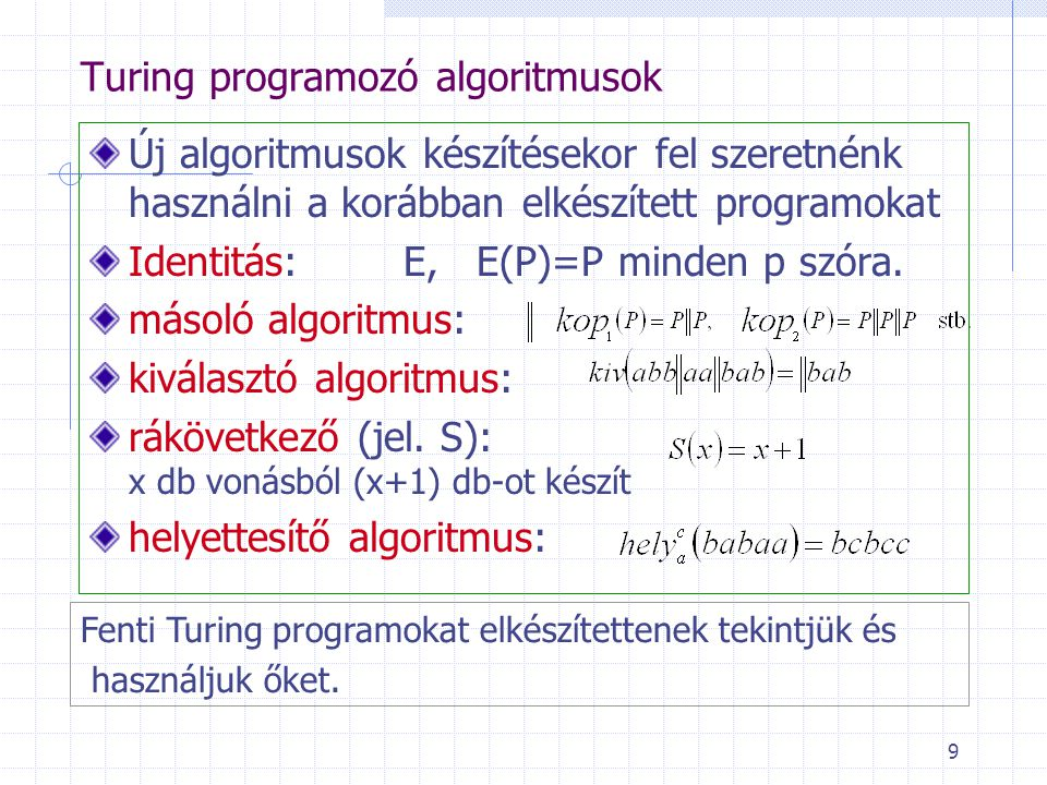 Turing programozó algoritmusok