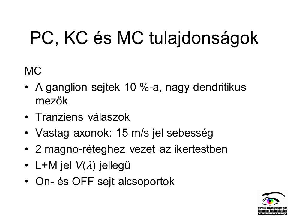 PC, KC és MC tulajdonságok