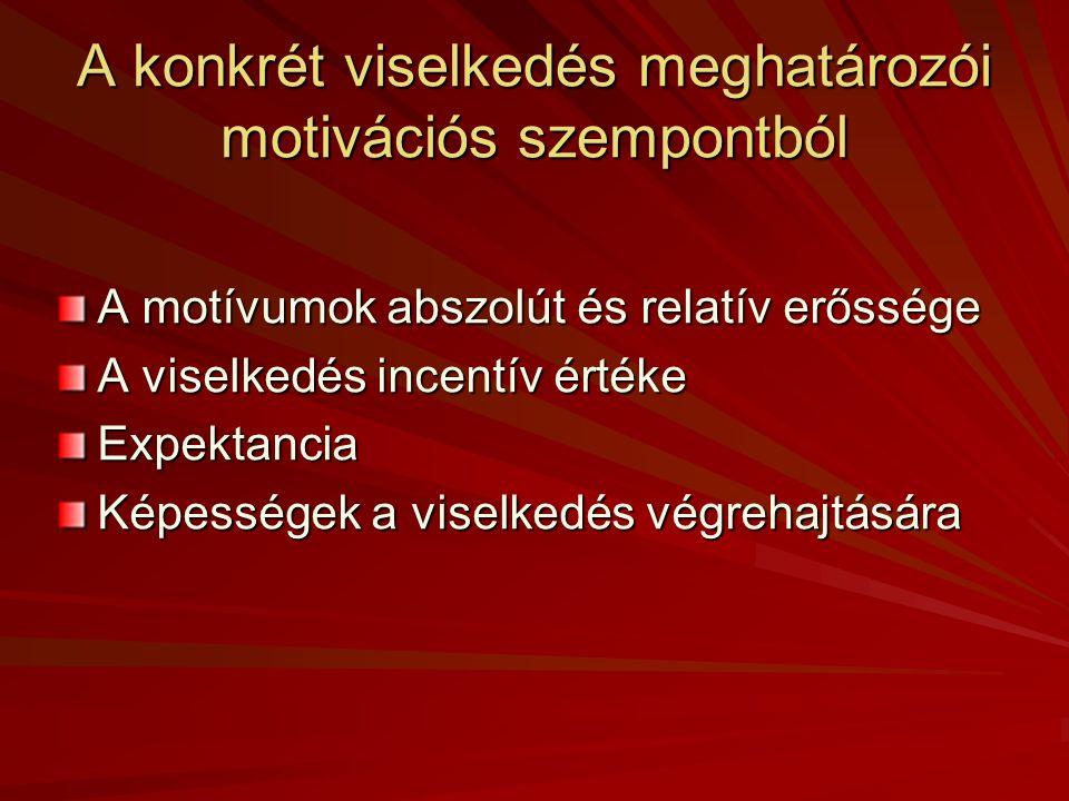 A konkrét viselkedés meghatározói motivációs szempontból