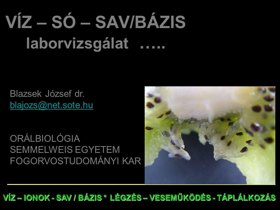 VÍZ – SÓ – SAV/BÁZIS laborvizsgálat …..