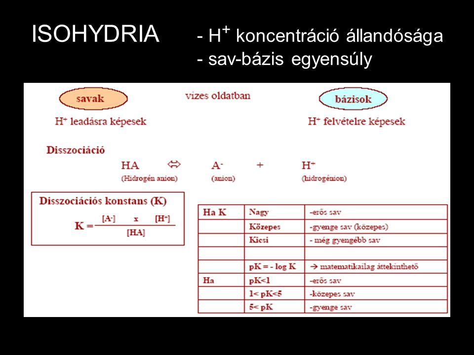 ISOHYDRIA - H+ koncentráció állandósága - sav-bázis egyensúly