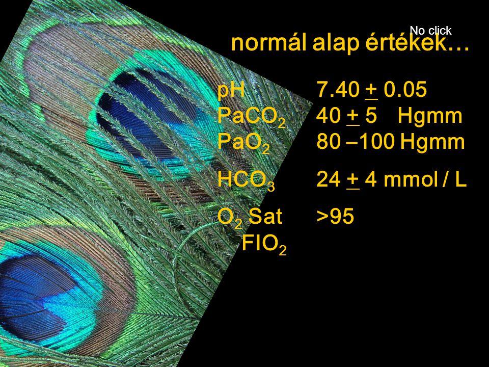 normál alap értékek… pH 7.40 + 0.05 PaCO2 40 + 5 Hgmm