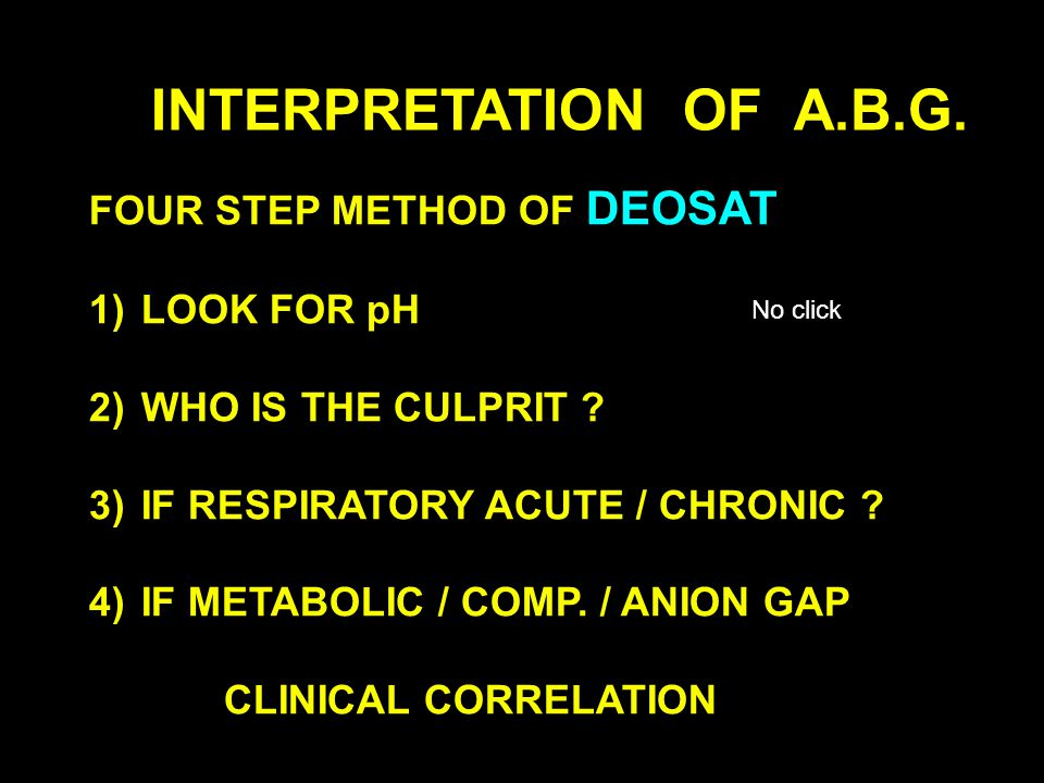 INTERPRETATION OF A.B.G. FOUR STEP METHOD OF DEOSAT LOOK FOR pH