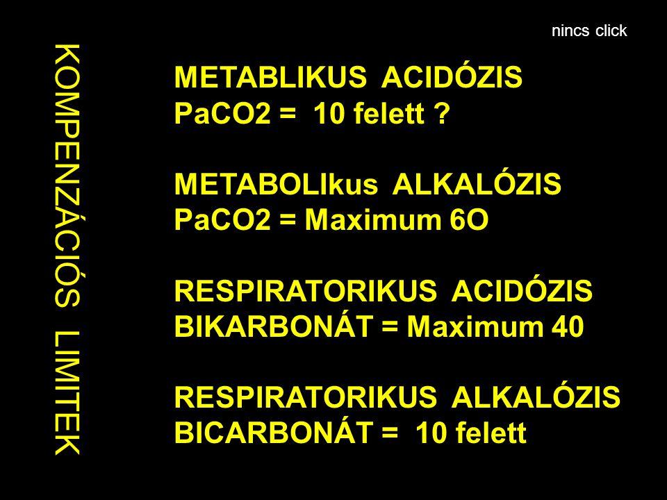 KOMPENZÁCIÓS LIMITEK METABLIKUS ACIDÓZIS PaCO2 = 10 felett