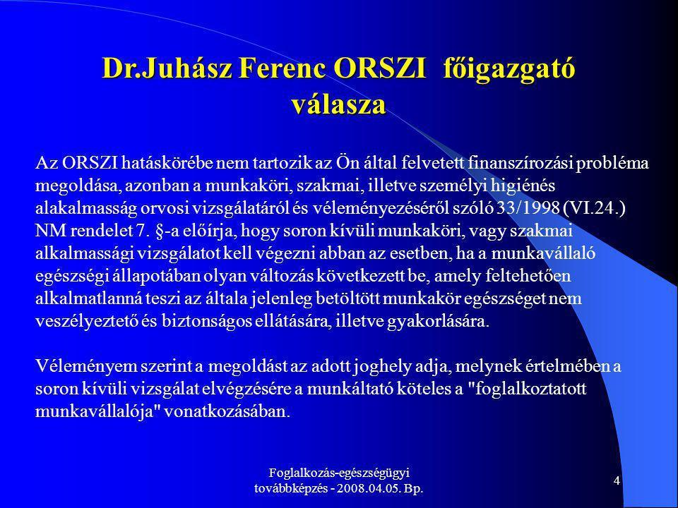Dr.Juhász Ferenc ORSZI főigazgató válasza