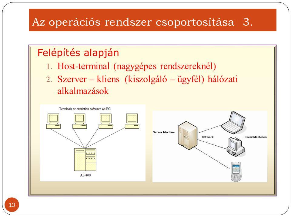 Az operációs rendszer csoportosítása 3.