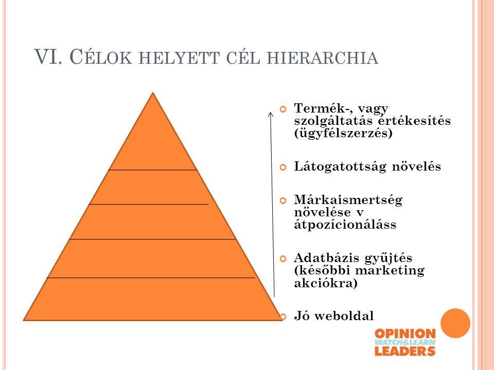 VI. Célok helyett cél hierarchia