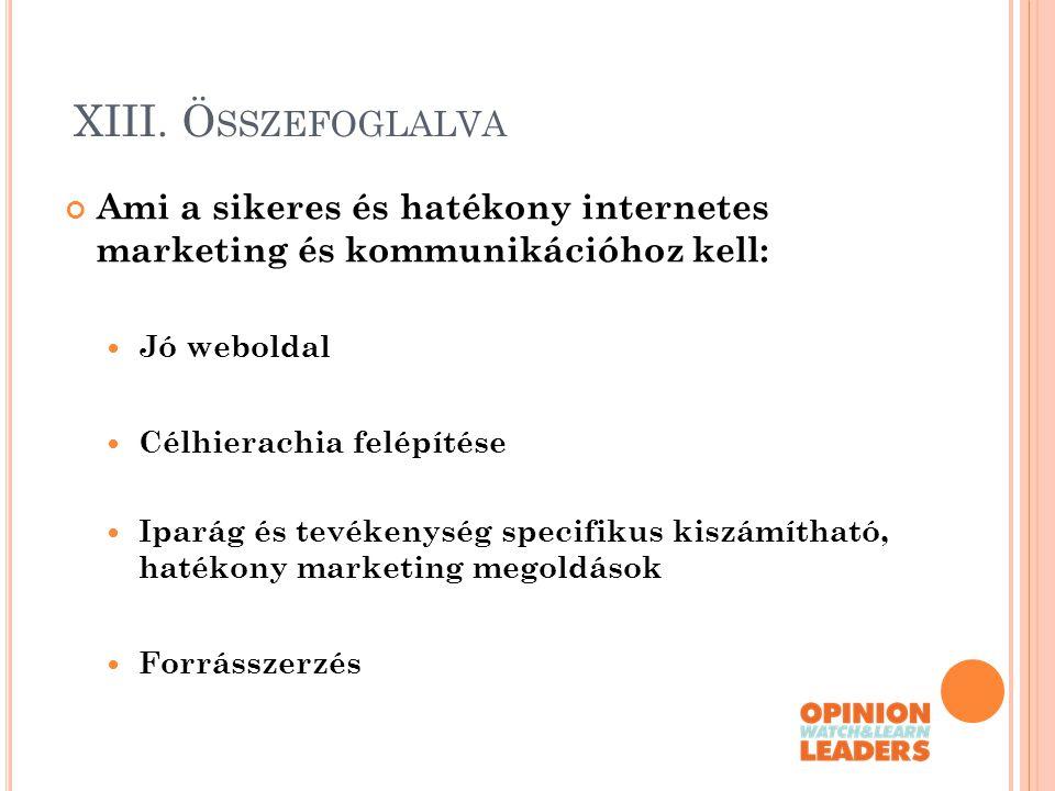 XIII. Összefoglalva Ami a sikeres és hatékony internetes marketing és kommunikációhoz kell: Jó weboldal.