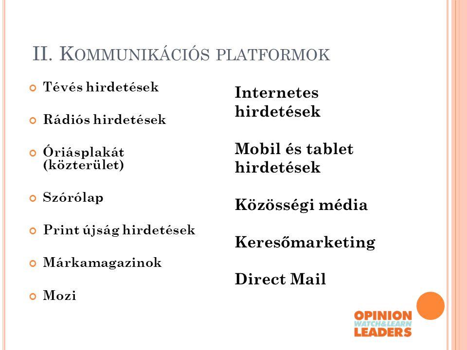 II. Kommunikációs platformok