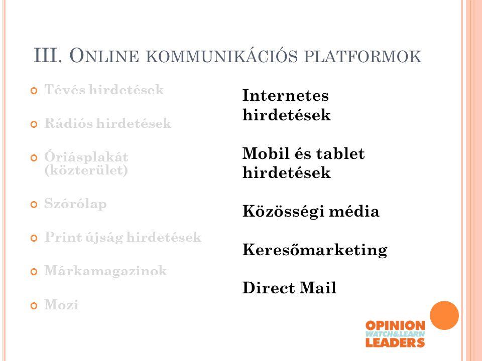 III. Online kommunikációs platformok