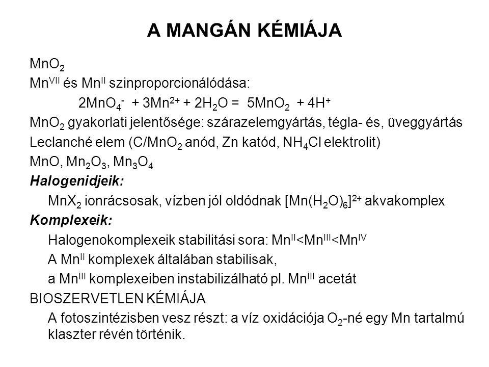 A MANGÁN KÉMIÁJA MnO2 MnVII és MnII szinproporcionálódása: