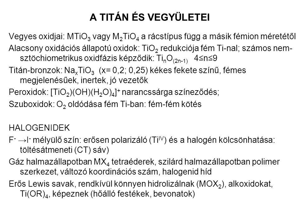 A TITÁN ÉS VEGYÜLETEI Vegyes oxidjai: MTiO3 vagy M2TiO4 a rácstípus függ a másik fémion méretétől.