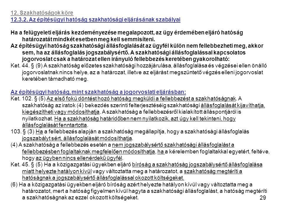 12. Szakhatóságok köre 12.3.2. Az építésügyi hatóság szakhatósági eljárásának szabályai.