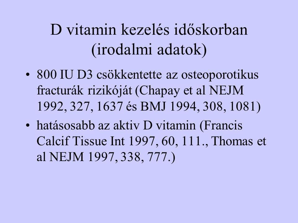 D vitamin kezelés időskorban (irodalmi adatok)