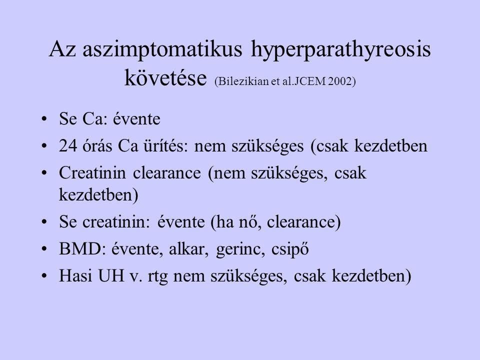 Az aszimptomatikus hyperparathyreosis követése (Bilezikian et al