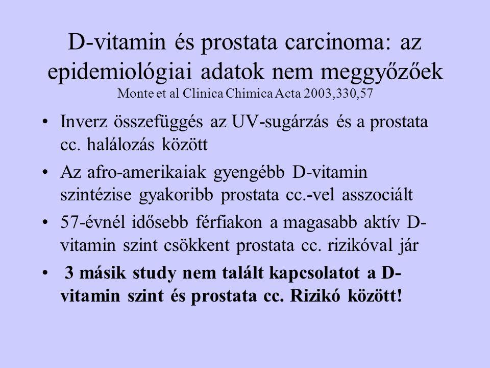D-vitamin és prostata carcinoma: az epidemiológiai adatok nem meggyőzőek Monte et al Clinica Chimica Acta 2003,330,57