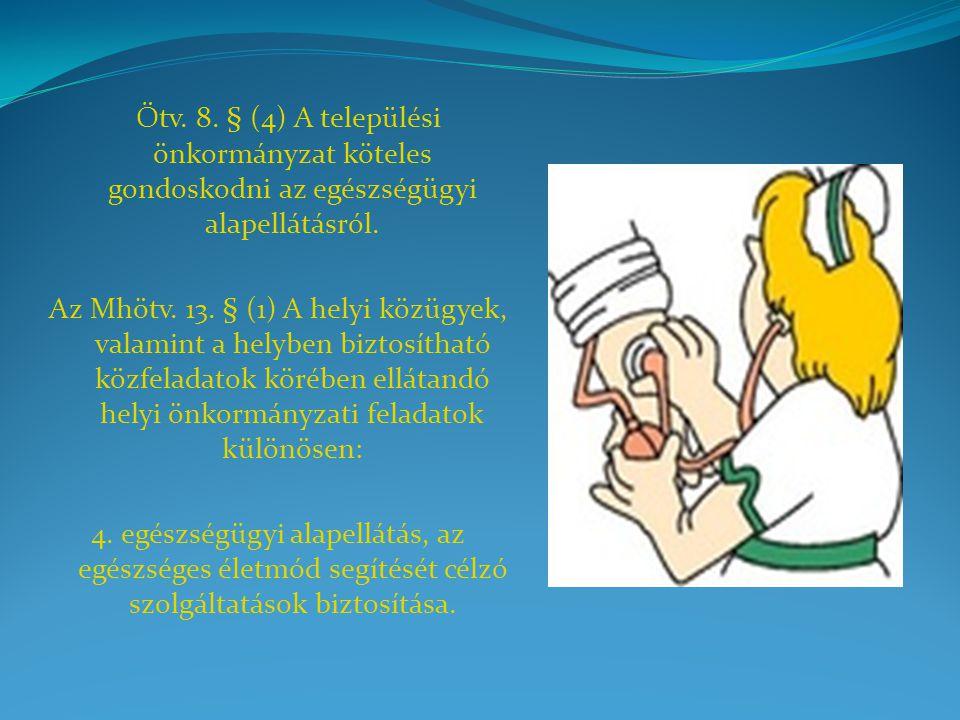Ötv. 8. § (4) A települési önkormányzat köteles gondoskodni az egészségügyi alapellátásról.