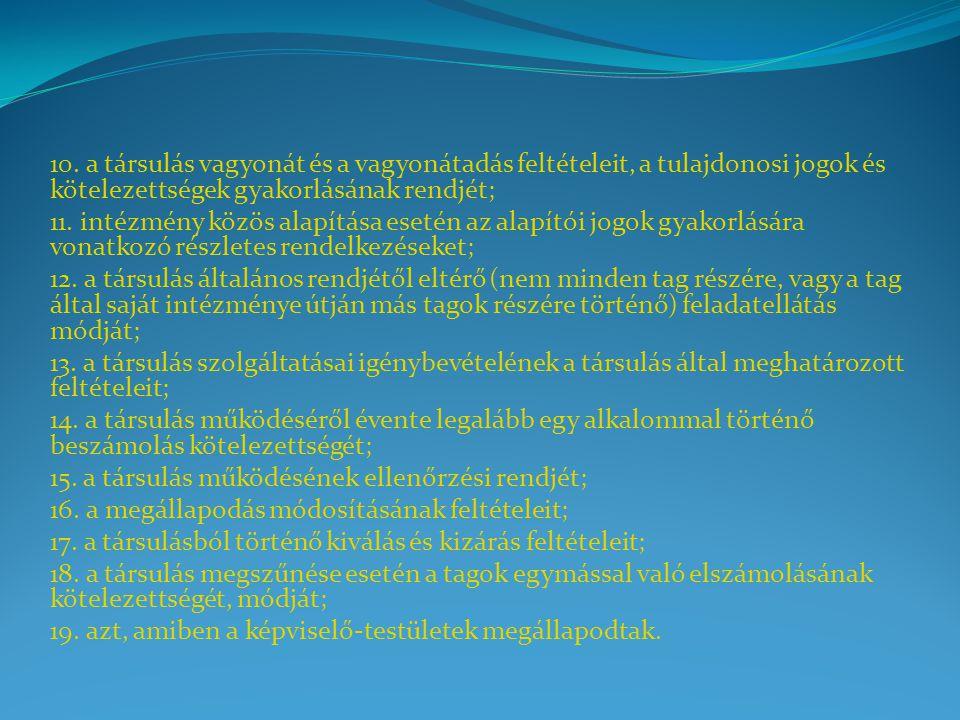 10. a társulás vagyonát és a vagyonátadás feltételeit, a tulajdonosi jogok és kötelezettségek gyakorlásának rendjét;